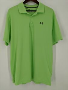 Under Armour Golf Polo Collared Shirt Men's XL Heat Gear Green Loose Fit $15.95