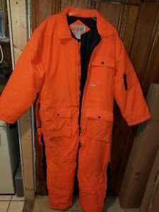WINCHESTER HUNTING HUNT HUNTER ORANGE SUIT SNAP ZIP COVERALLS XL X LARGE