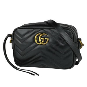 Gucci Gg Marmont Chain Shoulder Bag Seat Angle Quilting Leather Black 448 22191 $1512.04