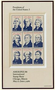 Scott 2216 2219 Set of 4 MNH AMERIPEX Presidents of the U.S. Miniature Sheets