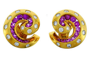 Vintage Van Cleef Arpels Gold Clip On EARRINGS with Diamond and Pink Sapphire $14800.00