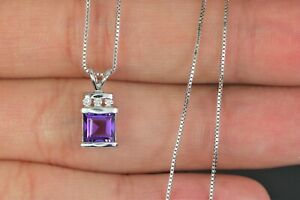 $1150 14K White Gold Step Cut Purple Amethyst Round Diamond Pendant Necklace