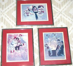 Clowns Set of 3 Signed Lithographs by Robert Owen $48.00