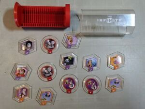 DISNEY INFINITY Assorted Set Power Disc Lot of 13 with Storage tube $16.89