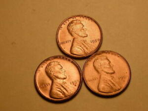 1950 P D S LINCOLN WHEAT CENT PENNY 1C GEM BU BRILLIANT RED SET OF 3 COINS