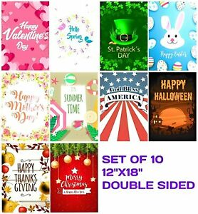 Seasonal Garden Flag Set 10 Flags for Outdoors 12x18 Inches Double Sided