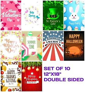 Seasonal Garden Flag Set 10 Flags for Outdoors 12x18 Inches Double Sided $14.95