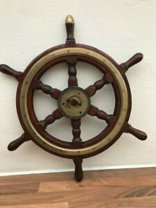 ANTIQUE SHIPS WHEEL. LIGHT BRASS RIM. WOODEN YACHT WHEEL BOAT MARINE NAUTICAL GBP 195.00
