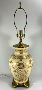 Lamp Vintage Japanese Satsuma Table Lamp Hand Painted  Gold Trim Solid Brass