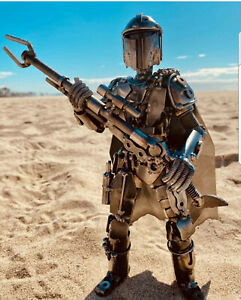 Mandalorian Star Wars InspiredHand Made One of a Kind Recycled Metal Statue. $125.00