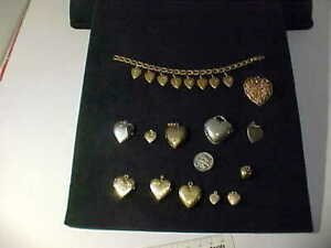 Lot of Vintage Silveramp; GF Gold Filled Heart Lockets Pendants and Bracelet