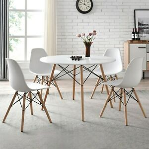 Round Mid Century Modern Dining Set Table amp; 4 Chairs Farmhouse Dining Kitchen $299.99