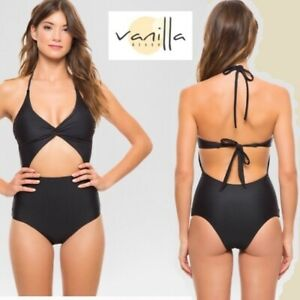 Vanilla Beach Junior#x27;s Black Cut Out One Piece Swimsuit Small NWT