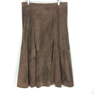 Chicos Skirt Size 3 XL Brown Suede Leather Studded Cutouts Boho Southwestern $59.99