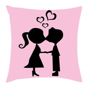 12 Love Print Cotton Pillow Case Waist Throw Pink Cushion Cover Square Cover $4.94
