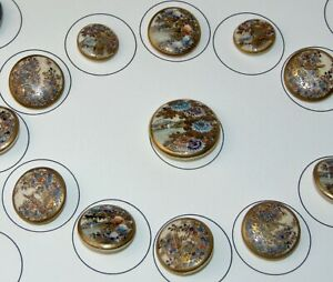 ANTIQUE Japanese SATSUMA Buttons EXCEPTIONAL ASSORTMENT On Card LOT L