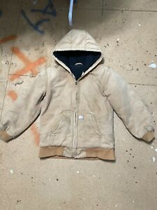 Vintage Carhartt Jacket Hooded Mens Faded Brown Tan Small USA 90s Distressed