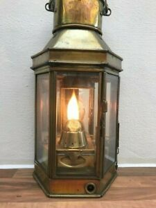 ANTIQUE SHIPS LIGHT. Brass Wardroom Lantern. WW11 Maritime Lamp. Nautical Boat. GBP 299.00