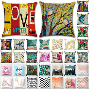 Printed Cushion Cover Throw Waist Pillow Case Cotton Linen Home Sofa Throw Decor $7.21