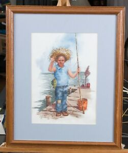 Watercolor Boy Fishing on Pier 50% reduced
