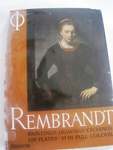 Rembrandt: Paintings Drawings Etchings 1960 Phaidon Good Ex Library Hardcover $6.95