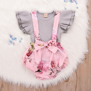 Floral Infant Baby Girls Outfits Set Toddler Clothes Romper Top Bodysuit Dress $6.99