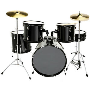 5 Piece Drum Set Full Size Cymbals Kit with Stool amp; Sticks Complete Adult Black $288.99
