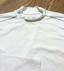 Under Armour Men's Evo Fitted Mock Long Sleeve Performance Shirt White XL $13.99