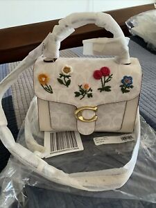 NWT COACH 629 Tabby Floral Embroidery Top Handle Bag Chalk Signature Gold