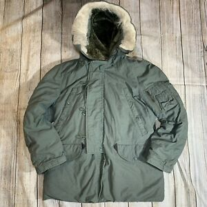 Vintage Army Air Force Extreme Cold Weather Parka Fur Hooded Jacket N 3B Mens S $90.99
