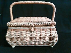 Vintage Wicker Sewing Basket w Tray amp; Notions Pin Cushion Lid Japan $25.00