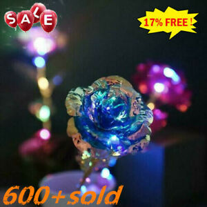 24K Gold Foil Rose Flower LED Luminous Galaxy Mothers Day Gift