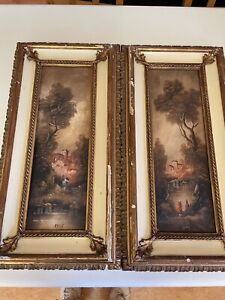 "A PAIR OF ANTIQUE OIL PAINTINGS ON BOARD SIGNED ""BELLIS"" EARLY 20th C $200.00"