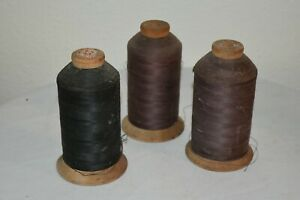 3 Vintage Industrial Wooden Intrinsic sewing spools with thread Black Seal EUC $37.92