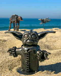 Star Wars Baby Yoda Inspired Hand Made One of a Kind Recycled Metal Statue $55.00