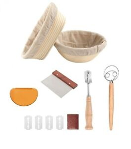Bread Proofing Basket Set Of 2 Round and Oval Loaded with Accessories