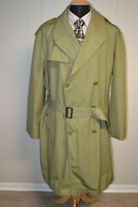 Vintage Armee Francaise Men#x27;s French Military Officers Trench Coat Sz 54 $90.00
