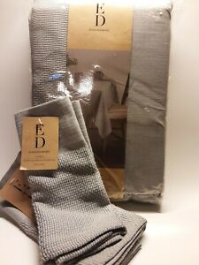 ED Tablecloth Richly Textured Gray And Set Of 2 Napkins with Tags