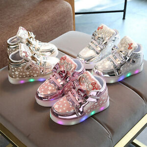 Girls LED Light Baby Star Pattern Bowknot Sport Shoes Kids Autumn Wear Resistant $15.17