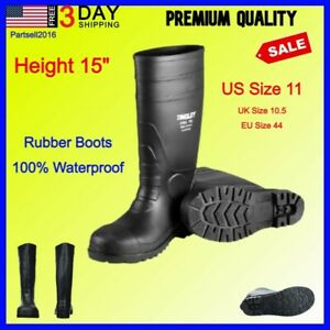 BEST Mens Work Rubber Boots Fishing Hunting Black PVC 15In Mud Dirt Tall Size 11