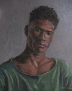 Portrait of a young black man original oil painting $112.00