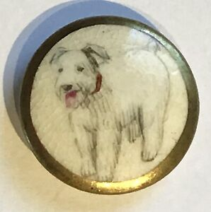 GORGEOUS VINTAGE SATSUMA BUTTON WITH TERRIER DOG