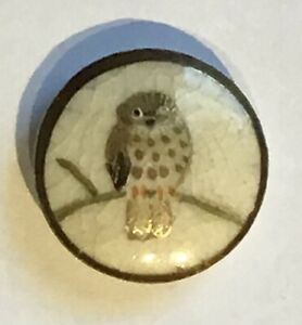 GORGEOUS VINTAGE SATSUMA BUTTON WITH OWL