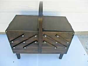Vintage Wooden SINGER Footed Accordion Fold Out SEWING BOX BASKET $120.00