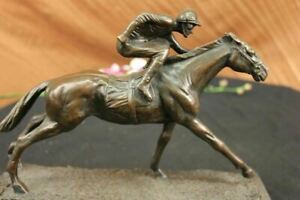 WONDERFUL PURE BRONZE HORSE AND JOCKEY RACEHORSE STATUE SCULPTURE LARGE NUMBER 7 $196.00