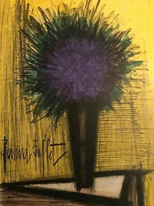 Bernard BUFFET Original Color Lithograph THE PURPLE BOUQUET Signed Mourlot 1967 $129.00