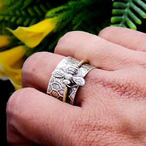 Honey Bee Spinner Ring Solid 925 Sterling Silver Wide Band Handmade Ring Jewels