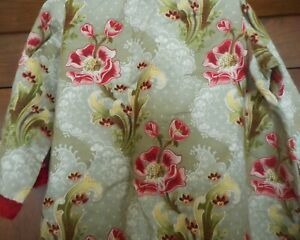 Antique Art Nouveau French Floral Fabric #1 Robe Caftan Costume ? Red Green $138.00