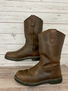 """REDHEAD Men#x27;s """"BONE DRY"""" Waterproof Brown Leather Hunting Cowboy Boots Size 8.5"""