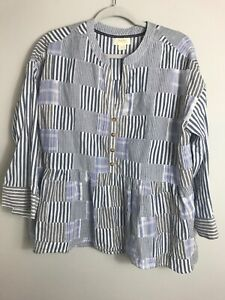 Maeve Anthropologie Oversized Patchwork Top Blue White Gray Cotton Small $24.73